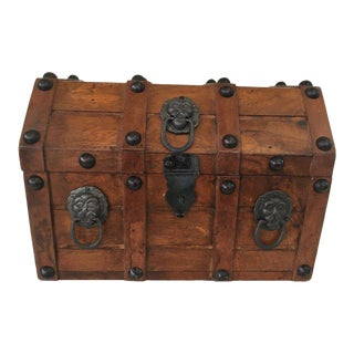 Vintage Wooden Pirate's Chest For Sale