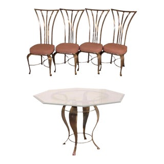 Mid Century Modern Shaver Howard Steel Dining Set Table 4 Chairs Arthur Umanoff For Sale