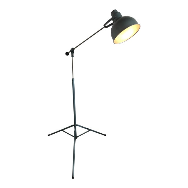 Vintage Industrial Mid Century Bretford Tripod Floor Lamp Adjustable Stage Light Fixture For Sale