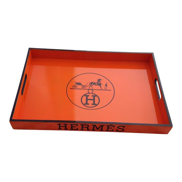 Vintage Hermes Orange & Brown Bar Tray For Sale