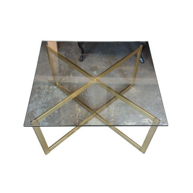 West Elm Contemporary West Elm Cross-Base Square Coffee Table For Sale - Image 4 of 11