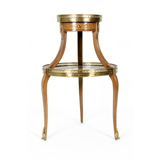 Louis XVI Two-Tier Marble Top Marquetry Side or End Table For Sale - Image 9 of 13