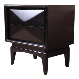 Mid-Century Modern Ebonized Sculpted Walnut Diamond Front Nightstand by United, Newly Refinished For Sale