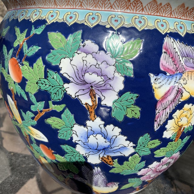 Chinoiserie Blue Porcelain Planter Pot With Koi Fish Interior Motif For Sale In Denver - Image 6 of 12