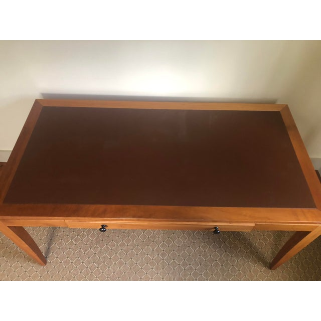 2000 - 2009 Mid Century Writing Desk With Leather Top For Sale - Image 5 of 8