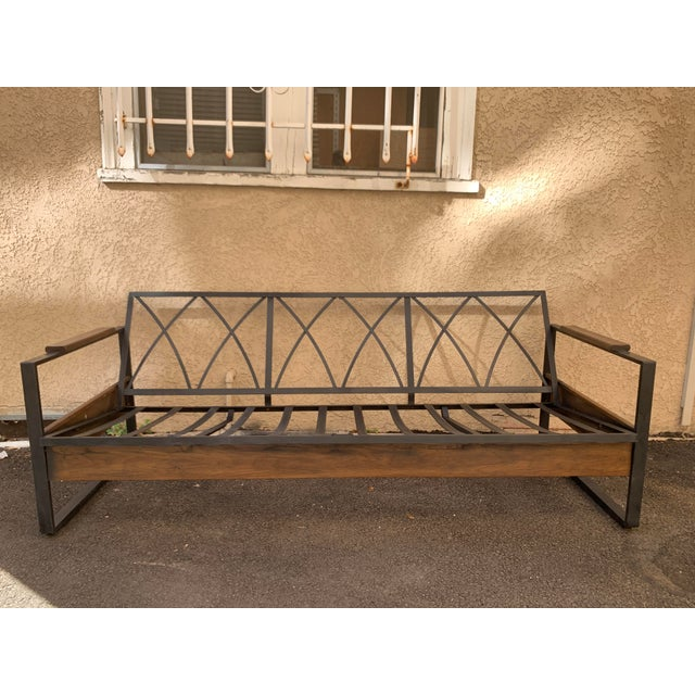 American Vintage Metal and Wood Framed Day Bed Sofa For Sale - Image 3 of 9