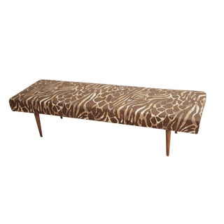 Animal Print Midcentury Modern Ottoman / Bench / Coffee Table