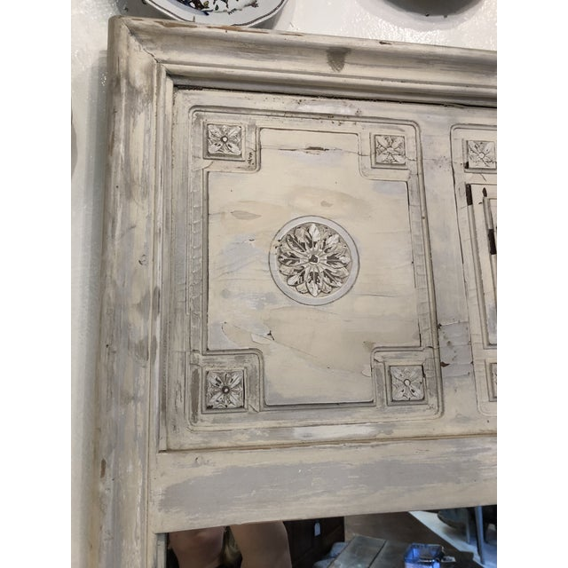 Wood Antique French Trumeau Mirror For Sale - Image 7 of 13