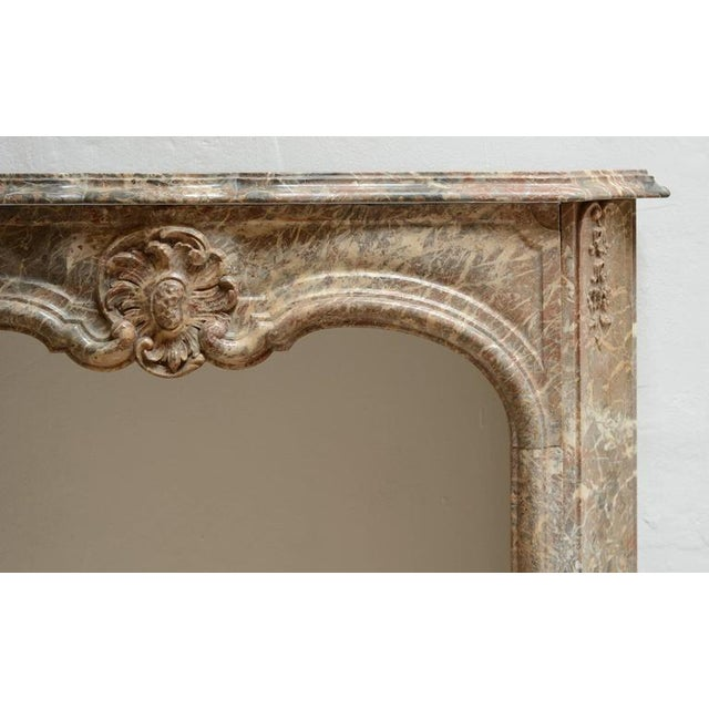 Marble Beautiful Petite Marble Régence Style Fireplace Mantel For Sale - Image 7 of 10
