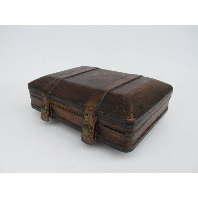 Vintage: Italian tooled leather, gentlemen's traveling, lidded valet box, or personal box for important possessions, with...