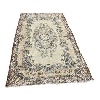 Vintage Turkish Floral Design Rug Medallion Rose Patterned Carpet Brown Color Rug - 4x7 Ft For Sale