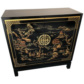 Elegant Drexel Heritage Black Chinoiserie Style Sleek Cabinet For Sale
