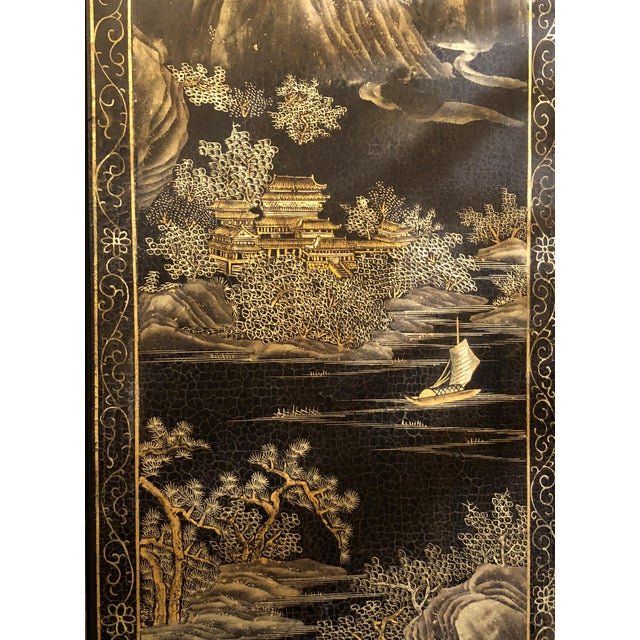 Antique Chinese Lacquered 12 Panel Screen, Circa 1890-1910. For Sale - Image 4 of 6