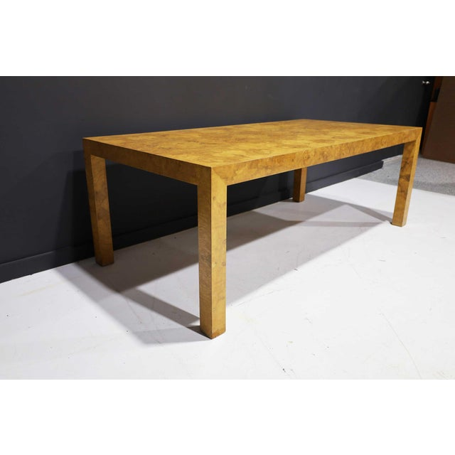 Milo Baughman Olivewood Burl Parsons Dining Table For Sale - Image 10 of 13