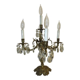 Vintage Spanish Brass Crystal Chandelier Prisms 5-Light Candelabra Table Lamp For Sale