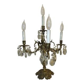 Vintage Spanish Brass Crystal Chandelier Prisms 5-Light Candelabra Table Lamp For Sale