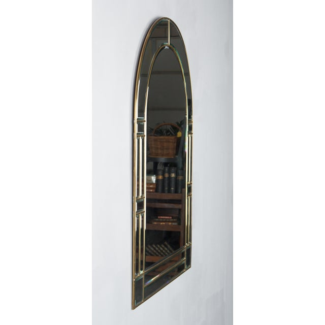 Metal 1970s Italian Beveled Glass Mirror With Brass Frame For Sale - Image 7 of 13
