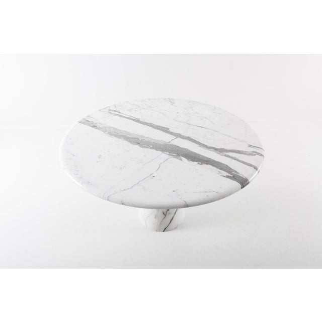 Midcentury Round Italian Carrara Marble Dining Table For Sale - Image 9 of 13