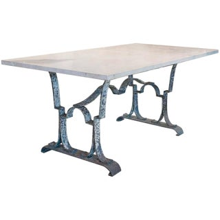 Antique French Travertine Marble Top & Iron Table