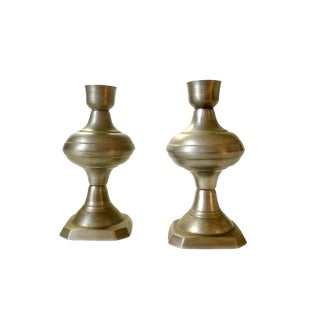 Vintage Pewter Turned Candlesticks - a Pair For Sale