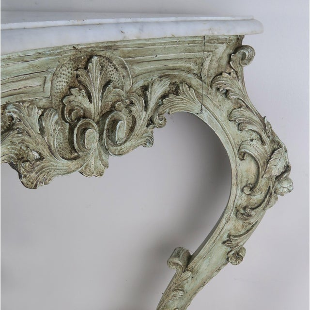 19th Century French Rococo Style Painted Console With Carrara Marble Top For Sale - Image 11 of 13