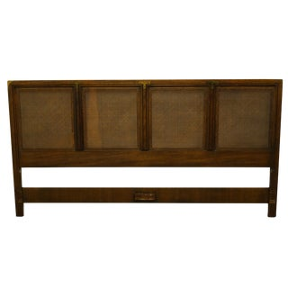 Campaign Heritage Asian Inspired King Size Cane Back Panel Headboard For Sale