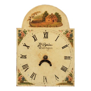 19th-C. English Hand-Painted Clock Face For Sale