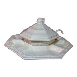 1960s XL Teak Lazy Susan & Tuscan Style Tureen Set- California Pottery For Sale