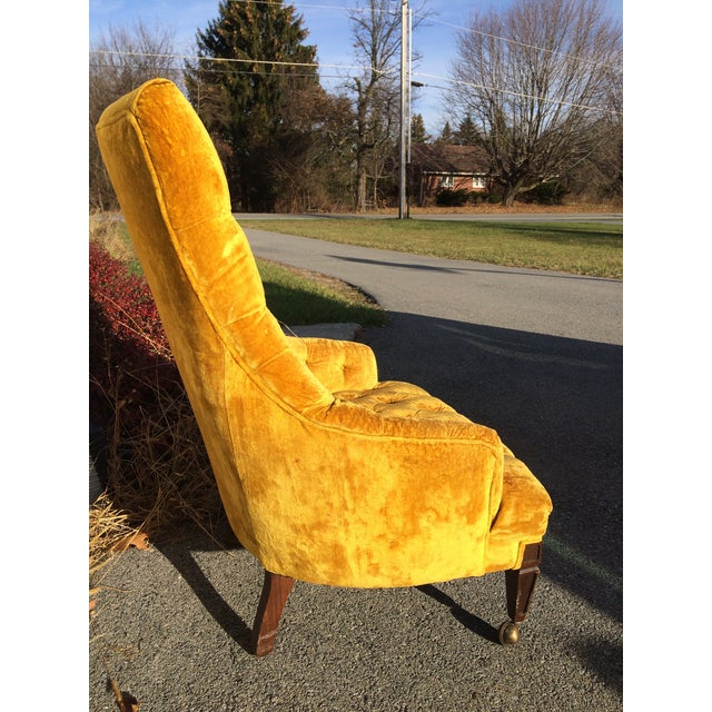 Mid-Century Tufted High Back Chair - Image 3 of 6