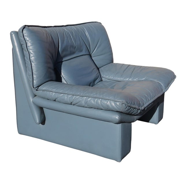 Blue 1970's Modern Nicoletti Salotti Leather Sofa and Lounge Chair- 2 Pieces For Sale - Image 8 of 13