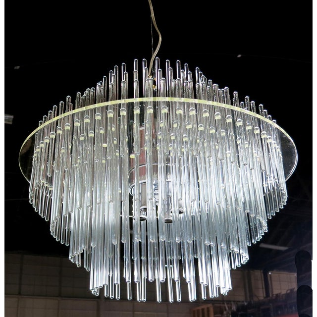 Lightolier Lucite and Glass Rod Chandelier by Gaetano Sciolari for Lightolier For Sale - Image 4 of 4
