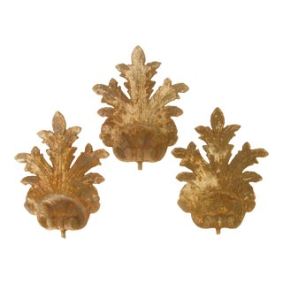 French Iron Shell & Leaf Architectural Elements, Set of 3 For Sale