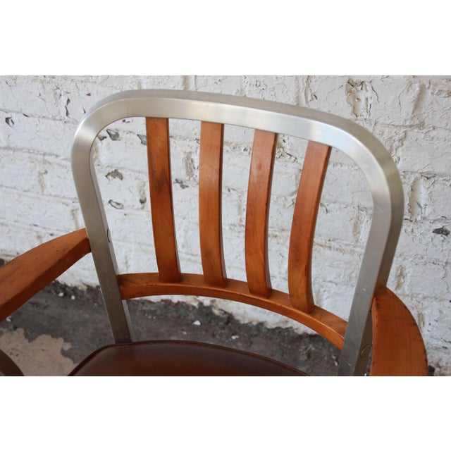 1950s Shaw Walker Maple and Aluminium Armchair With Leather Seat For Sale In South Bend - Image 6 of 10