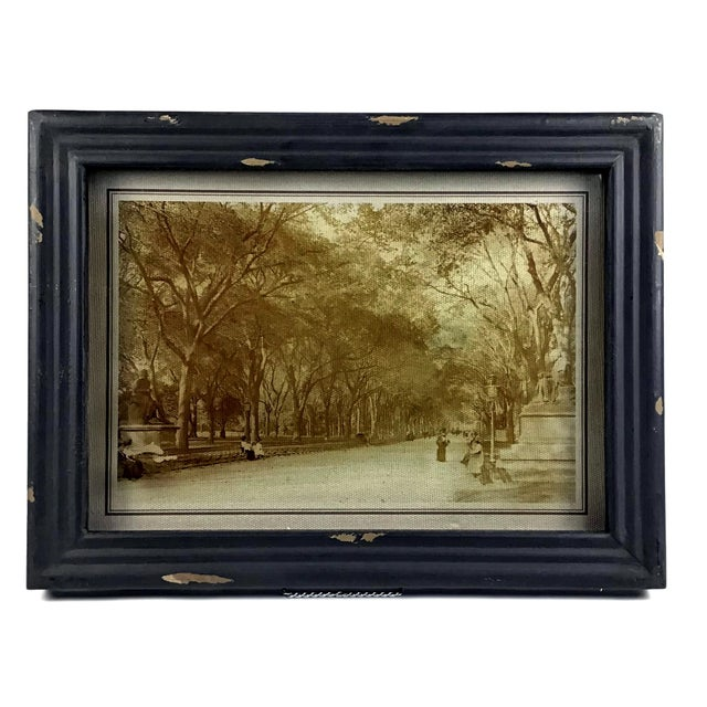 New, not used, distressed black wood framed reverse glass screen print with canvas backing in 3 D. These framed prints are...