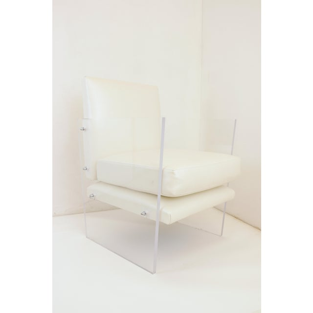 Vintage Mid Century Modern Clear Lucite & White Upholstered Arm Chair For Sale - Image 10 of 13