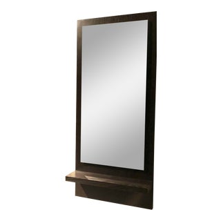 Modern Wenge Wood Mirror With Shelf For Sale