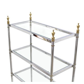 Mid Century Modern Chrome Brass Glass Tall Etagere Preview