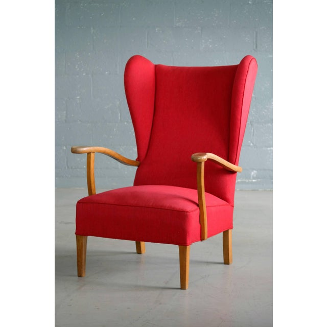 Danish Midcentury Wingback Lounge Chair Attributed to Fritz Hansen For Sale - Image 9 of 9