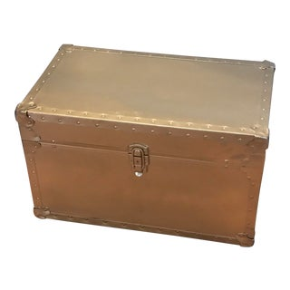 1950s Hollywood Regency Rolling Gold Metal Trunk Chest For Sale
