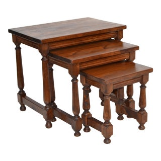Antique Oak Wood Set of 3 Nesting Tables Turned Legs, Stacking Tables, France For Sale