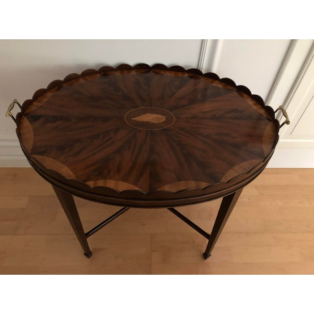 Brass Mid-Century Modern Baker Furniture Collector's Edition Scalloped Tray Table For Sale - Image 7 of 11