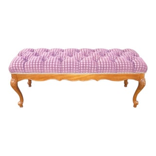 Vintage French Country Tufted Lilac Velvet Diamond Pattern Upholstered Bench For Sale