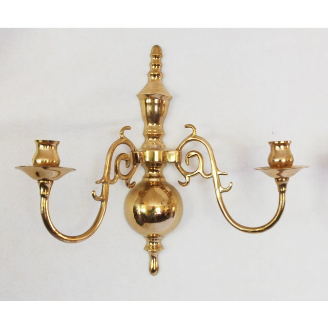 Vintage Solid Brass Candle Wall Sconces - Pair - Image 3 of 5