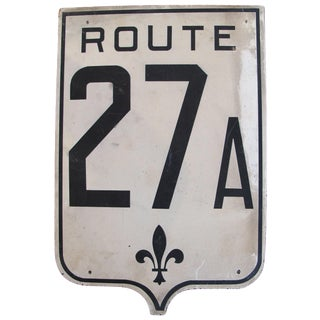 Vintage French Road Sign - Route. 27A For Sale
