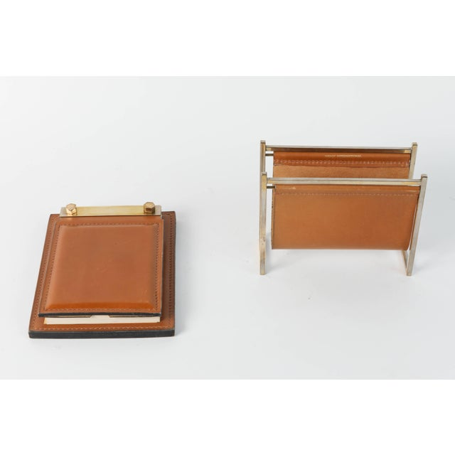 Delvaux Paris Leather and Brass Note Pad and Letter Rack Desk Set - 2 Pc. For Sale - Image 10 of 10