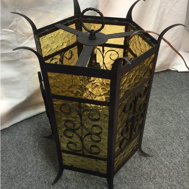 Gothic Spanish Revival Iron Slag Glass Light - Image 2 of 6