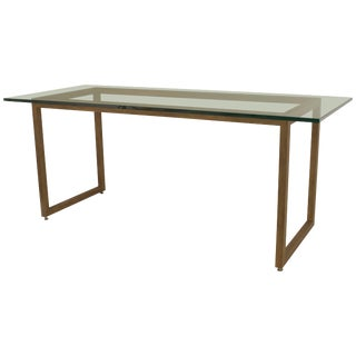 American Mid-Century Modern Style Gold Painted Metal Base Dining Table For Sale