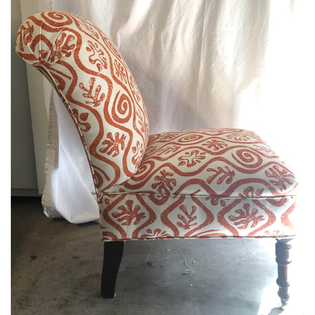 Charming antique pull-up a chair. Newly reupholstered in Peter Fasano cotton.