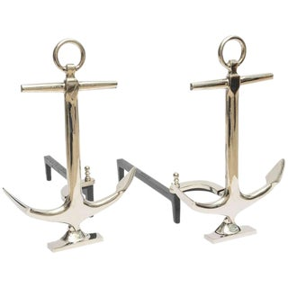 Puritan Nickel Plated Anchor Andirons - A Pair For Sale