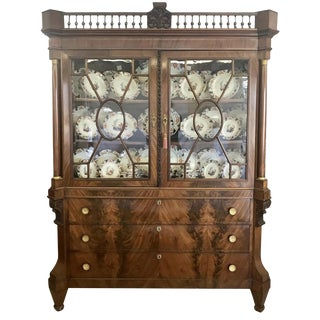 1840 Traditional Dutch Mahogany Display Cabinet For Sale